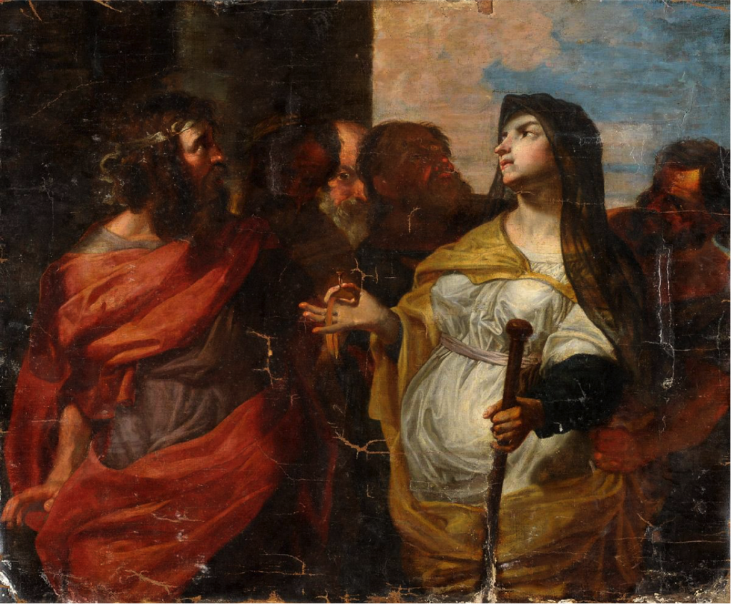 Image of Tamar presenting Judah's staff and seal to him and the town elders